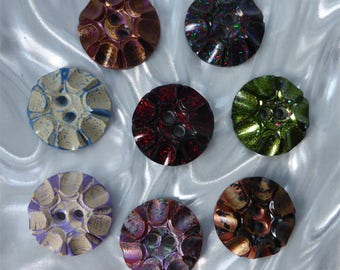 Handmade Resin Sewing Buttons - 8 different  unusual buttons (set med b_0118)