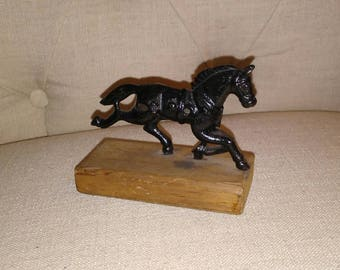 Wild, Wild, West, Horse mounted to Wood Base Piece at Nestbox Vintage