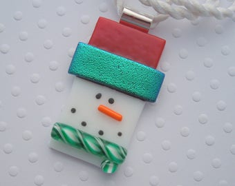 Snowman Jewerly - Christmas Ornament - Dichroic Fused Glass Pendant - Christmas Pendant- Snowman Necklace - Christmas Jewelry X1328