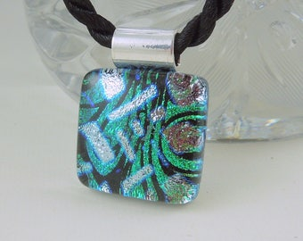 Bohemian Necklace - Green Necklace - Dichroic Fused Glass Pendant - Fused Glass - Mosaic Pendant - Dichroic Glass - Dichroic Jewelry 2997
