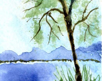 Original Watercolor ACEO Art Card, Wilderness, Lake, Summer Tree, Country, Mountains, Miniature OOAK Painting