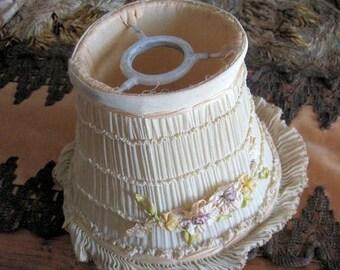 Antique Ribbonwork Lampshade Boudoir Flapper Shabby