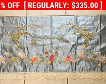 Antique French Valance Ribbon Work Silk Embroidery