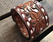 White Buck Stitched Tooled Western Leather Cowgirl Cuff- Gift for her- One of a kind