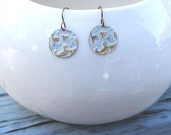 Lily Damask Earrings, Vintaj Earrings, Vintaj Jewelry, White Jewelry, Boho Jewelry, Dainty, Patina Jewelry, Brass Jewelry, Small Earrings