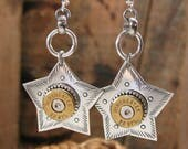 "Bullet Jewelry - July 4th - ""Shooting Star"" Bullet Casing Dangle Earrings - Star Shaped Bullet Earrings - Bullet Designs"