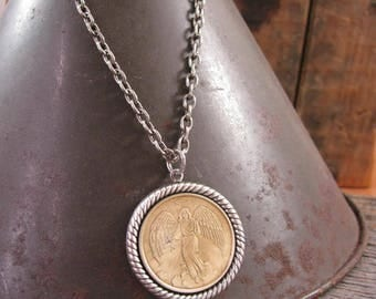Guardian Angel Necklace - Coin Jewelry - Upcycled Jewelry - BEST SELLER for THREE Years! - Everyone Needs a Guardian Angel Nearby