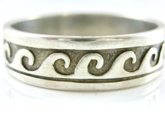 Size 13 3/4 Vintage Sterling Silver Mens Wave Design Ring Band
