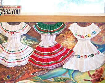 Mexican Dress, Toddler, Baby Dress, Fiesta, Christmas, size 2, CHOOSE COLOR