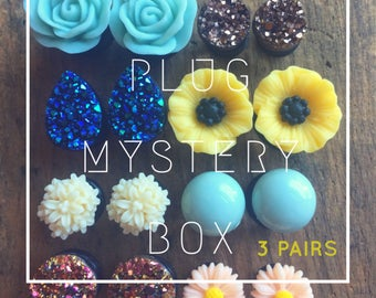 3 Pairs. Plugs Mystery Box for stretched earlobes. 6g (4mm), 2g (6mm), 0g (8mm), 00g (10mm), Half Inch 12mm, 14mm, 16mm, 20mm,22mm, 26mm