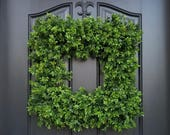 Square Boxwood Wreath, NEW Boxwood Wreath, Door Wreaths, Natural Looking Boxwood Wreath, Artificial Boxwood Wreaths