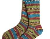 Handknit Socks for Women and Girls, Ladies Socks, Knit Socks, striped socks, multicolor socks, green and maroon socks, gift for women
