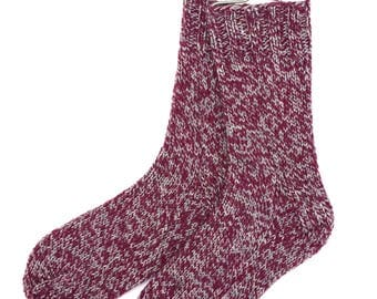 Handknit Socks for Women and Girls, wool and nylon, burgundy gray maroon, ragg wool,  knitted socks, worsted weight, gift for women