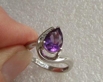 Impressive High Set Amethyst & Diamond Ring in solid 10K white gold size 5.25, 9x6mm pear, free US first class shipping on vintage
