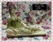 RESERVED!  Vintage statue lounging beauty on chaise ~Edwardian woman ~ Perfectly aged ~Tattered Elegance & Shabby French Perfection