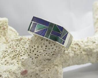 Sterling Silver Mens Ring Michael Perry Navajo Jewelry Inlayed Large Size 13+ Weighs 14 grams Lapis and Malachite