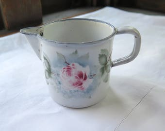 """Vintage French Enamel Creamer with Rose Stencil  3.25"""" High"""