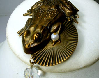Jan Michaels Signed TOAD Pin, Vintage Frog Lovers Brooch, Bronzetone Tree Toad , 1980s Rana , Knee Deeeep, Croak, Graawk