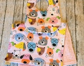 Pink Flannel Dog Faces Thick Bib and Burp Rag Set | Set includes 1 bib + 1 burp cloth | The best bibs for drool!