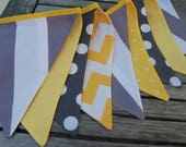 Gray & Yellow Bunting Banner, Fabric Flags Decoration, Modern, Chevron, Dots, Stripes -- Wedding Shower, Reception, Cake Table - Spring SALE