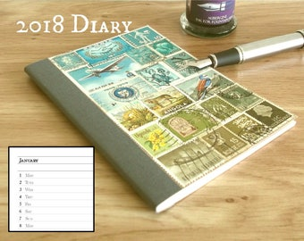 2018 Line a Day Diary Planner Notebook - Abstract Landscape Collage