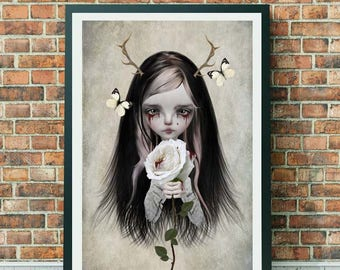 Fairytale Art Print - Fairytale Wall Decor - A3 Art Print - Rose Red