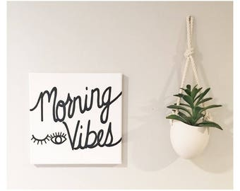 Morning Vibes - Hand painted Canvas - bedroom painting decor home house dwell wall hanging decoration black gold paint art work