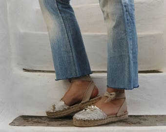 Lace up Espadrilles Sandals with Sequins in Cream.Summer Jute and Fabric Shoes. Women's Sandals. Greek Sandals.
