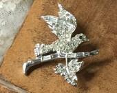 Schönen funkelnden klaren Pflastern Strass Vogel Blatt Brosche unsigniert silberfarbenen Rhodium versilbert 1970 1980 fliegenden Flügel thront Zweig