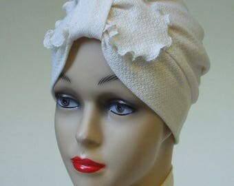 Women Turban Hat, Ruffled Bow, GOTS Organic Cotton Lace Cap, Chemo Hat, Sleepcap, Cancer Headwear, Knit Lace in Natural White, S-M, L-XL