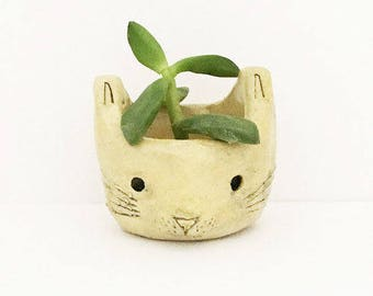 Yellow Ceramic Cat Planter