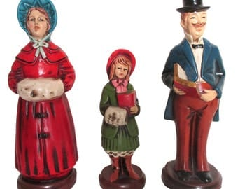 Vintage Christmas Carolers Singing Family of 3 Figurines Figures Marked Japan Holiday Decorations