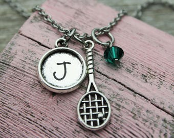 Personalized Tennis Initial Charm Necklace