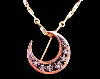 Antique Moon Necklace / diamond stars /  ROSE GOLD Brooch / georgian Pendant / French genuine Diamond moon / Victorian PIN Hallmarked