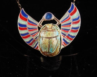 Original Grand Tour necklace / art deco choker /  Egyptian Revival scarab / enamel sterling winged scarab pendant / sterling beetle jewelry
