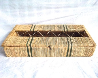 Basket Box Ornate Vintage Warehouse Find Straw Wrapped Wooden Box Vintage Home and Living Home Decor Gift Box Basket Display Box Straw Box
