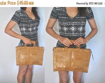 SALE EEL Leather Laptop or iPad bag / tan