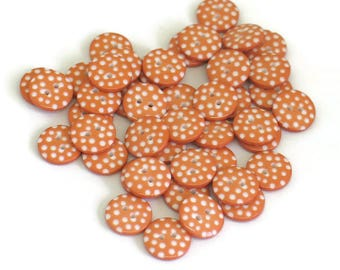 Orange Polka Dot Sewing Buttons for Scrapbooking Handmade Crafts Knitting Crochet Quilting 12mm Round Button for Kids Crafts Mixed Media