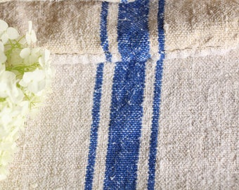 EP 347: antique handloomed SWEDISH BLUE ;  grainsack pillow cushion runner 52.76 long wedding, french lin,decoration, spring, vintage