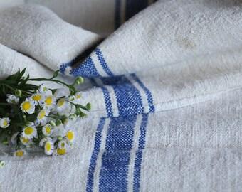 E 467: antique handloomed LAVENDER BLUE ;grainsack, pillow, cushion, runner, 42.52 long,upholstery project,french lin,decor