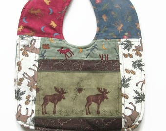 Moose & Bears Patchwork Baby Bib - Northwoods Baby Bib - Wildlife Baby Bib - Quilted Baby Bib - Ready To Ship
