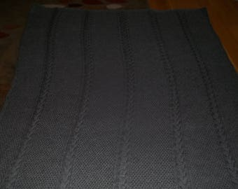 Knit Afghan Seeded Cable in Grey Heather, Blanket, Throw