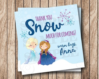 Printable Frozen Tags, Printable Queen Elsa Party Tags, Printable Frozen Thank You SNOW Much Tags, Frozen Birthday Party Tags