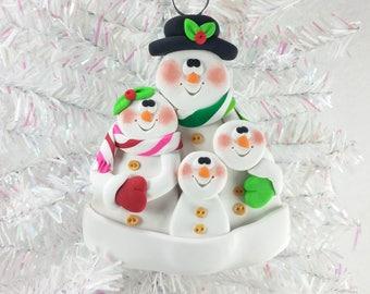 Clay Snowman Family Christmas Ornament - Snow Family of Four - Gift for Family of Four - Family Ornament - Snowman Collector Ornament - 6101