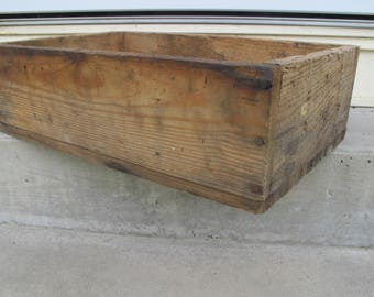 Wood Box Crate Heavy Thick Vintage Rustic Open Flat Tray Worn Shabby Farmhouse Decor Wooden Brown Natural Sturdy Barn Findings