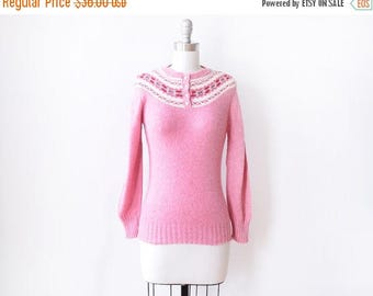 20% OFF SALE pink fair isle sweater, vintage nordic sweater, 80s pullover knit jumper, extra small xs
