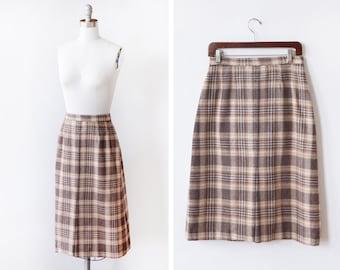 "70s brown plaid skirt, vintage 1970s midi skirt, high waist wool skirt, medium m, 28"" waist"