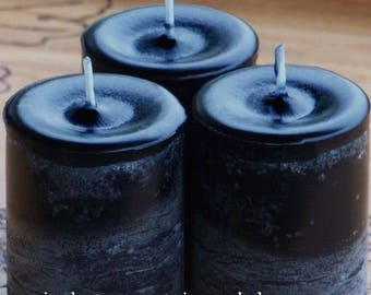 """WITCHING HOUR """"Old European Witchcraft"""" Pillar Votive Candles with Dragon's Blood, Amber Sandalwood, Patchouli, Cinnamon, More"""