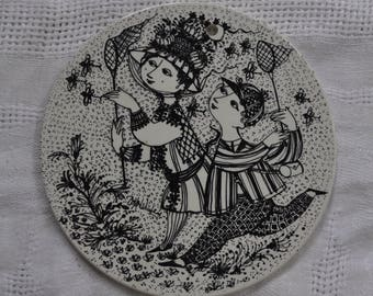 Chasing Butterflies Pottery Wall Plaque/Vintage 1970s/Bjorn Wiinblad/Danish Modern/Bye Bye August Birthday Gift