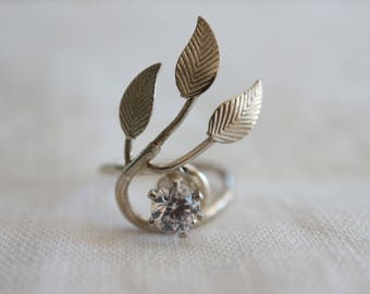 Silver Ring Twinkling Star and Leaves Sterling Silver